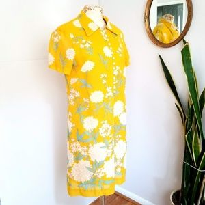Vintage Westover Floral Yellow Shift Dress